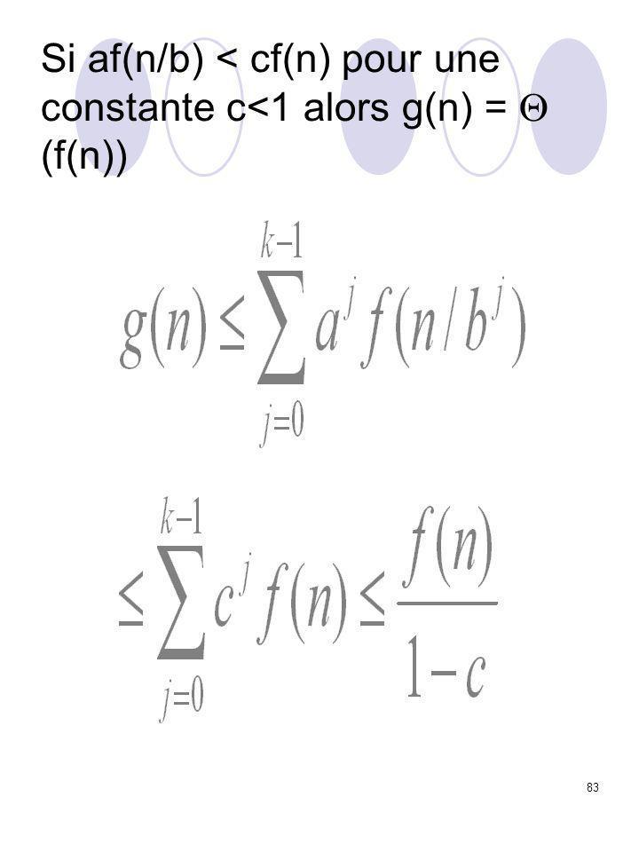 83 Si af(n/b) < cf(n) pour une constante c<1 alors g(n) =  (f(n))