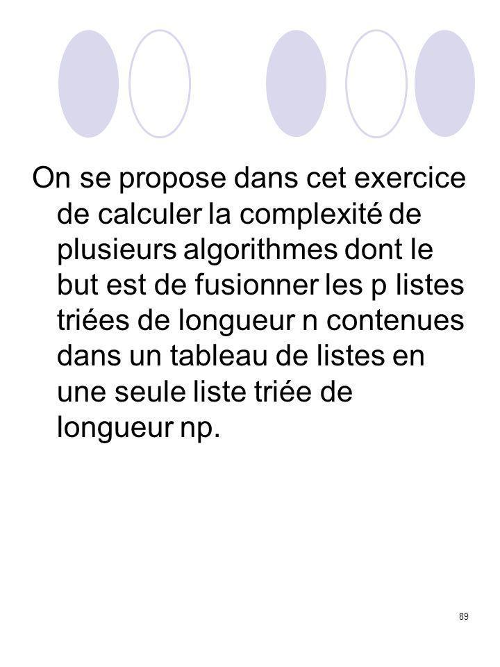 89 On se propose dans cet exercice de calculer la complexité de plusieurs algorithmes dont le but est de fusionner les p listes triées de longueur n c