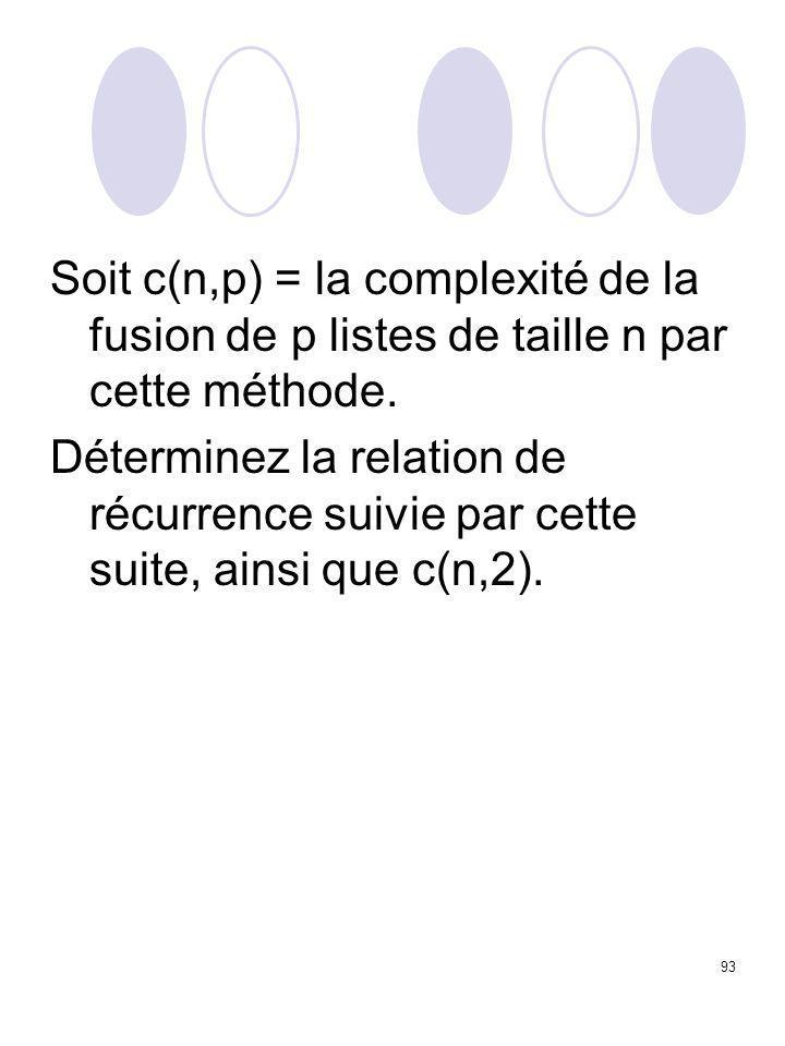 93 Soit c(n,p) = la complexité de la fusion de p listes de taille n par cette méthode. Déterminez la relation de récurrence suivie par cette suite, ai
