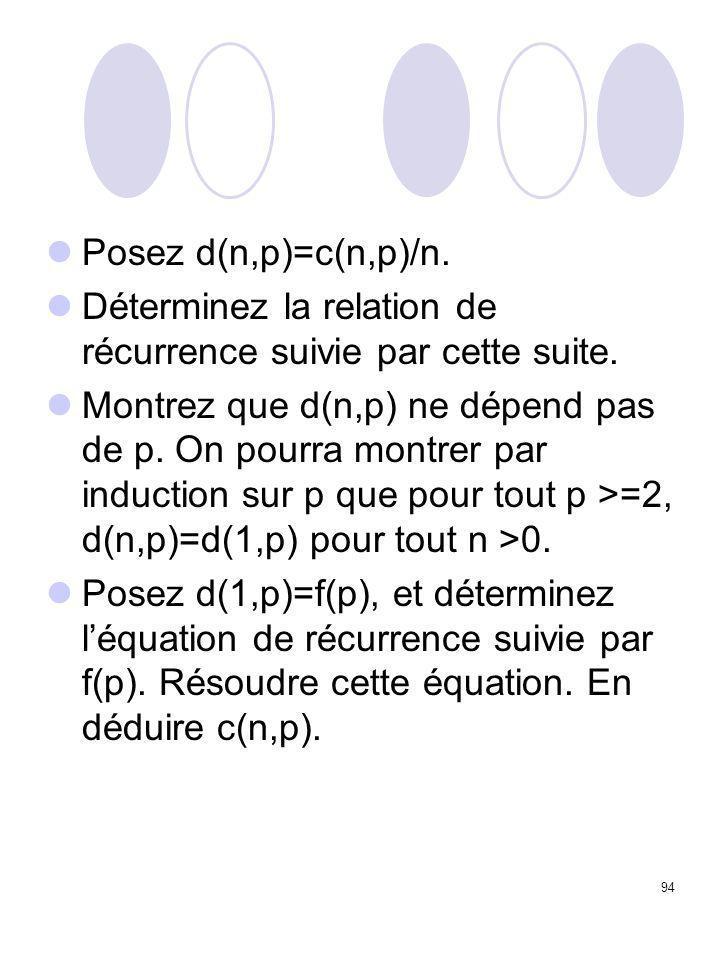 94 Posez d(n,p)=c(n,p)/n. Déterminez la relation de récurrence suivie par cette suite. Montrez que d(n,p) ne dépend pas de p. On pourra montrer par in