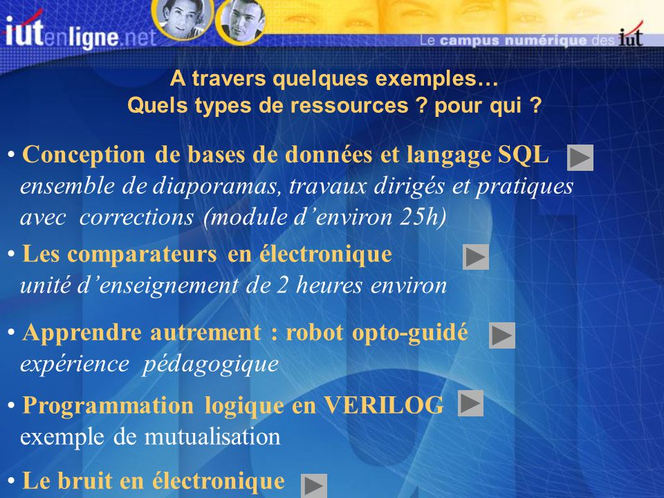 A travers quelques exemples… Quels types de ressources .