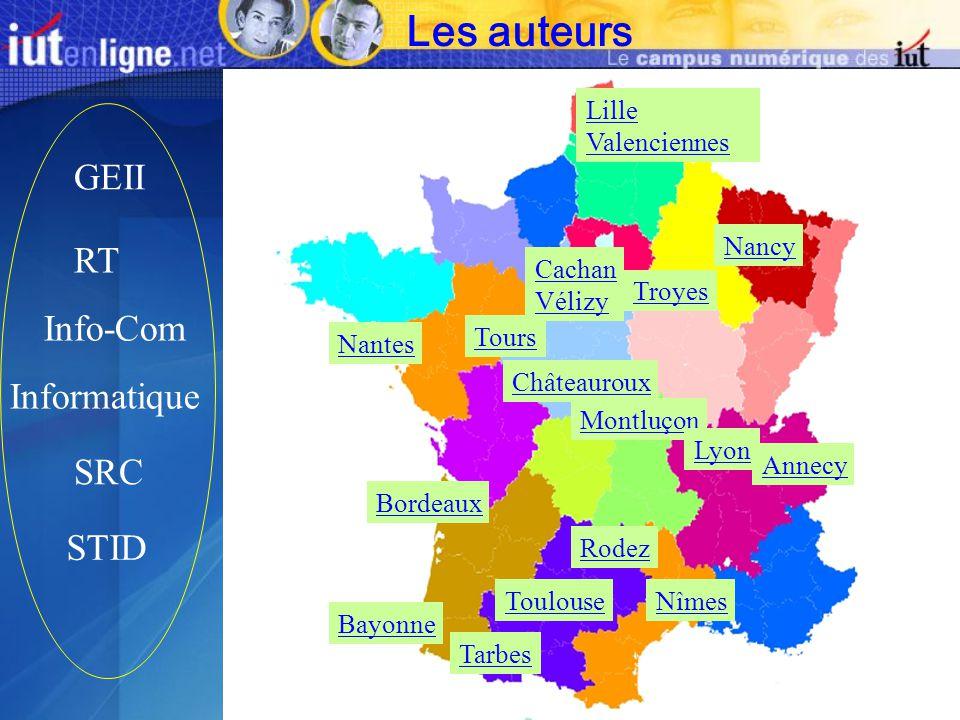Informatique GEII RT Info-Com SRC STID Bayonne Toulouse Tarbes Cachan Vélizy Nancy Nîmes Montluçon Tours Châteauroux Lille Valenciennes Bordeaux Nante