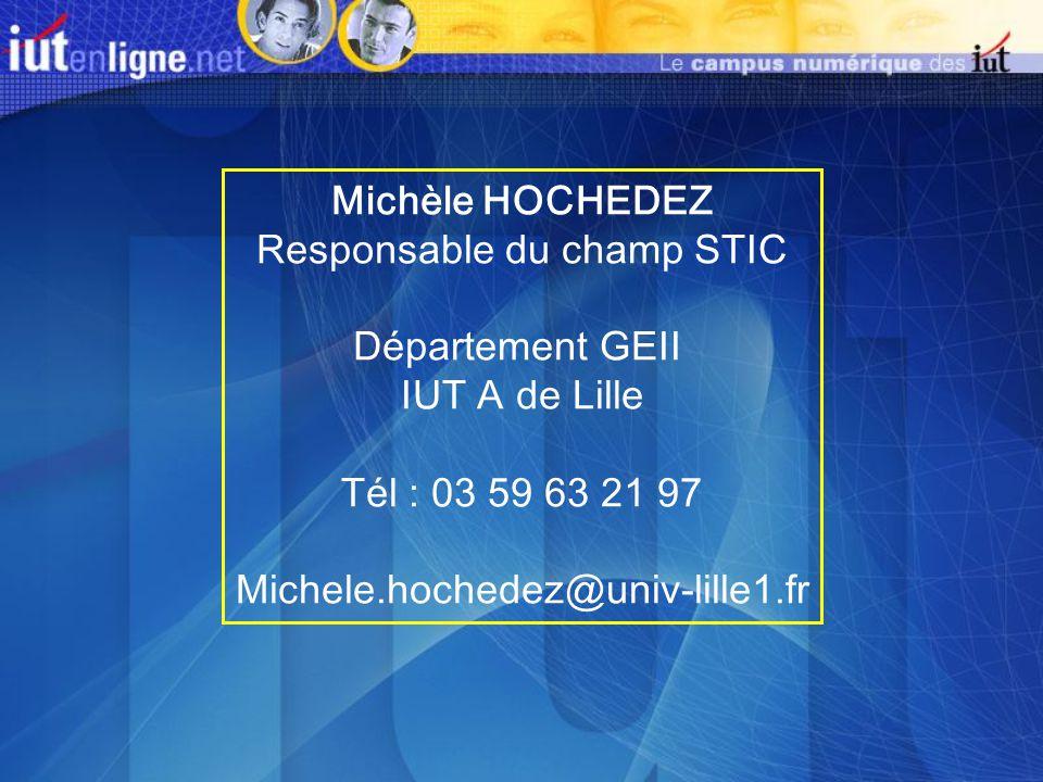 Michèle HOCHEDEZ Responsable du champ STIC Département GEII IUT A de Lille Tél : 03 59 63 21 97 Michele.hochedez@univ-lille1.fr