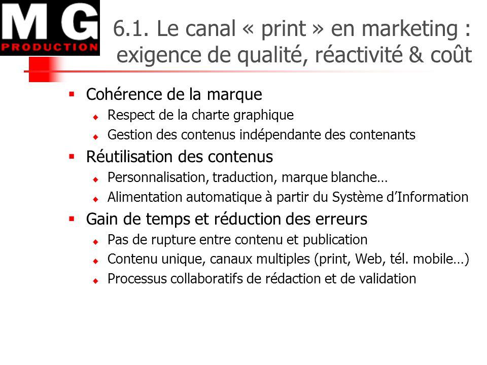 6.1. Le canal « print » en marketing : exigence de qualité, réactivité & coût  Cohérence de la marque  Respect de la charte graphique  Gestion des