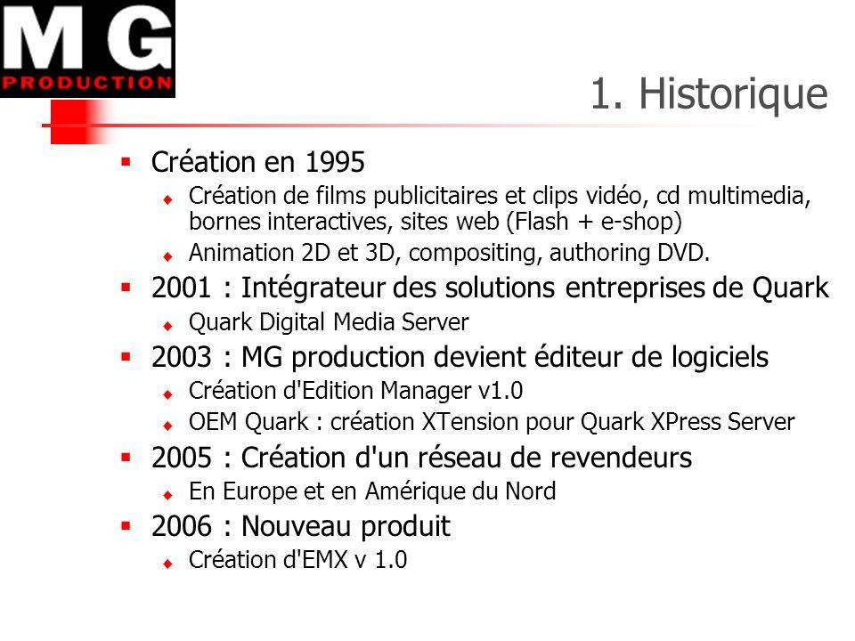 1. Historique  Création en 1995  Création de films publicitaires et clips vidéo, cd multimedia, bornes interactives, sites web (Flash + e-shop)  An