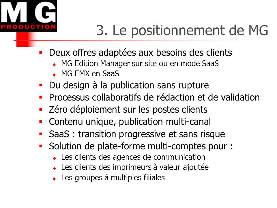 3. Le positionnement de MG  Deux offres adaptées aux besoins des clients  MG Edition Manager sur site ou en mode SaaS  MG EMX en SaaS  Du design à
