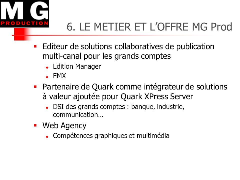 6. LE METIER ET L'OFFRE MG Prod  Editeur de solutions collaboratives de publication multi-canal pour les grands comptes  Edition Manager  EMX  Par