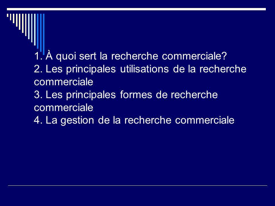 1. À quoi sert la recherche commerciale? 2. Les principales utilisations de la recherche commerciale 3. Les principales formes de recherche commercial