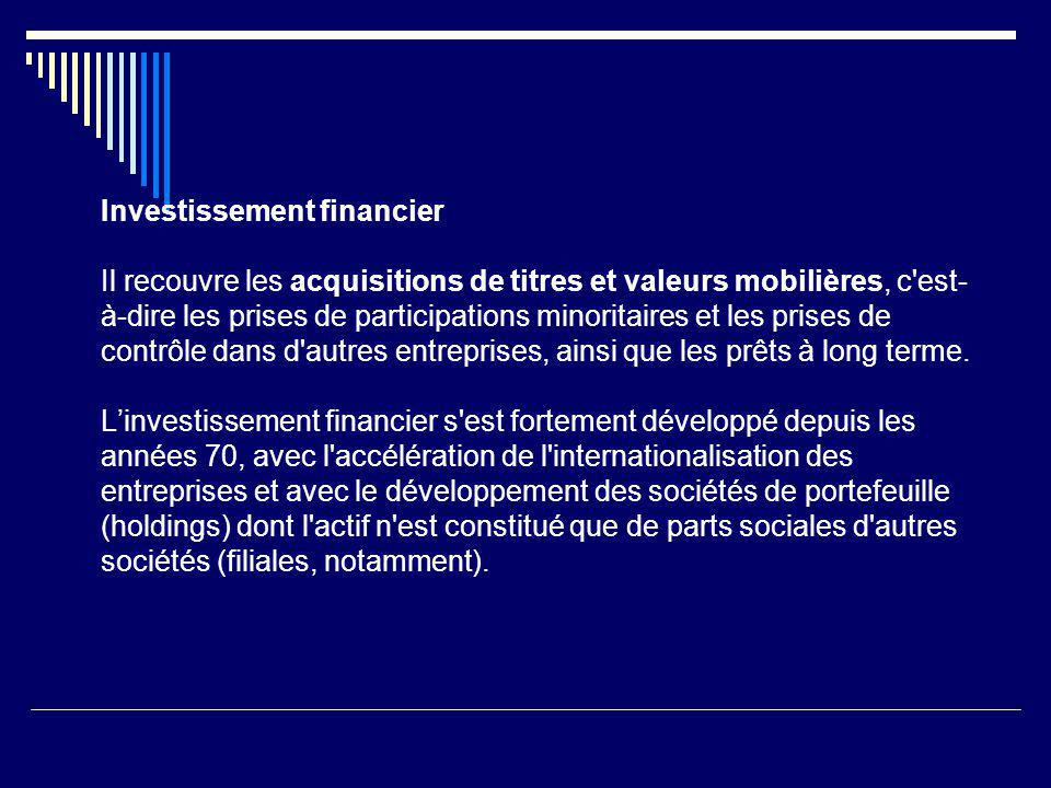 Investissement financier Il recouvre les acquisitions de titres et valeurs mobilières, c'est- à-dire les prises de participations minoritaires et les