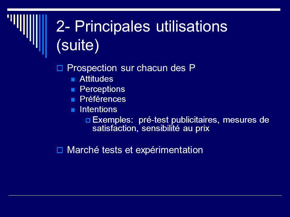 2- Principales utilisations (suite)  Prospection sur chacun des P Attitudes Perceptions Préférences Intentions  Exemples: pré-test publicitaires, me