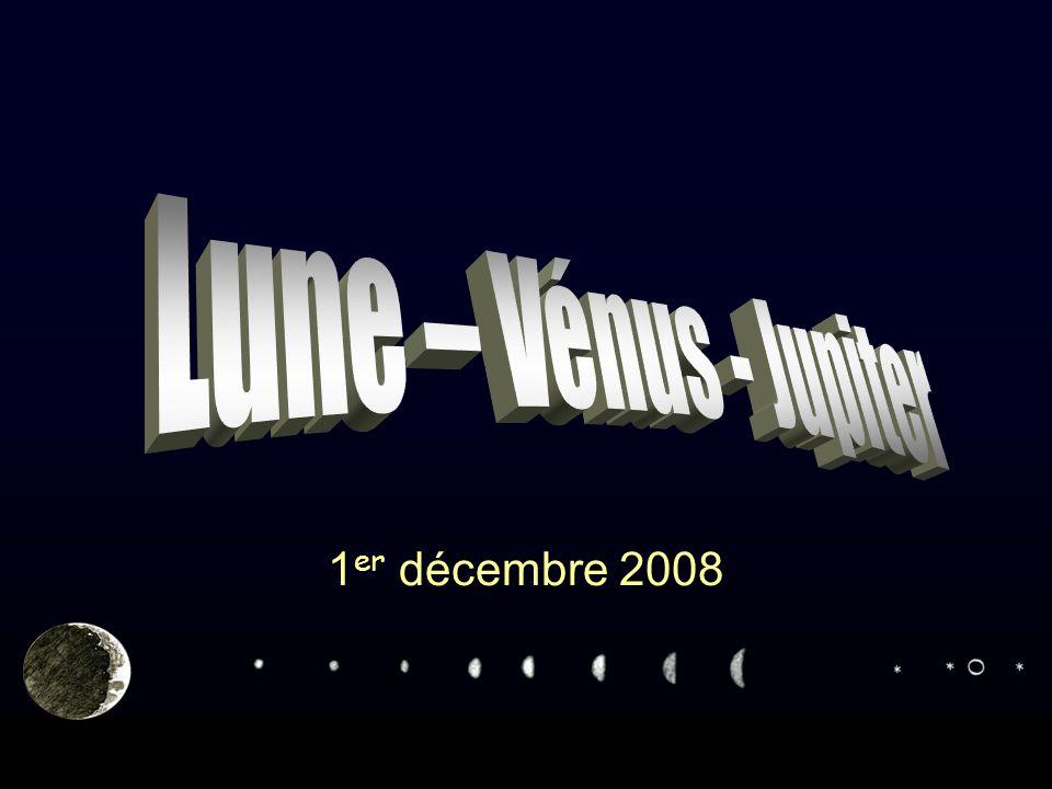 Conjonction Lune - Vénus - Jupiter 1er décembre 200812 Les éphémérides de l'IMCCE La Lune étant un objet proche, les directions observées sont fonction du lieu d'observation (coordonnées topocentriques).