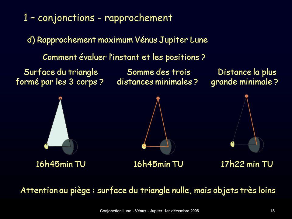 Conjonction Lune - Vénus - Jupiter 1er décembre 200818 d) Rapprochement maximum Vénus Jupiter Lune Comment évaluer l'instant et les positions .