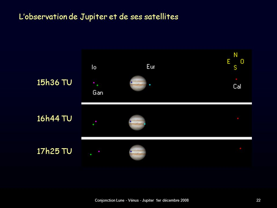 Conjonction Lune - Vénus - Jupiter 1er décembre 200822 L'observation de Jupiter et de ses satellites 17h25 TU 15h36 TU 16h44 TU