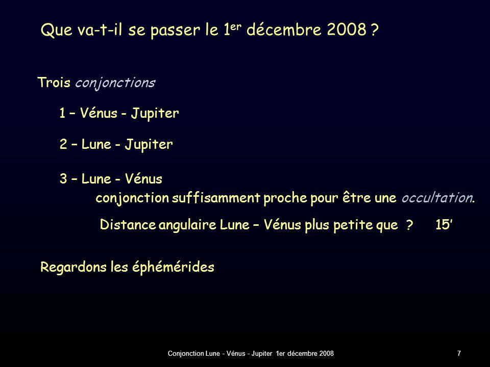 Conjonction Lune - Vénus - Jupiter 1er décembre 20087 Que va-t-il se passer le 1 er décembre 2008 .