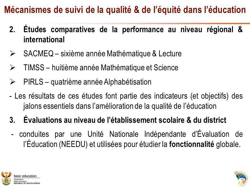 Mécanismes de suivi de la qualité & de l'équité dans l'éducation 2.