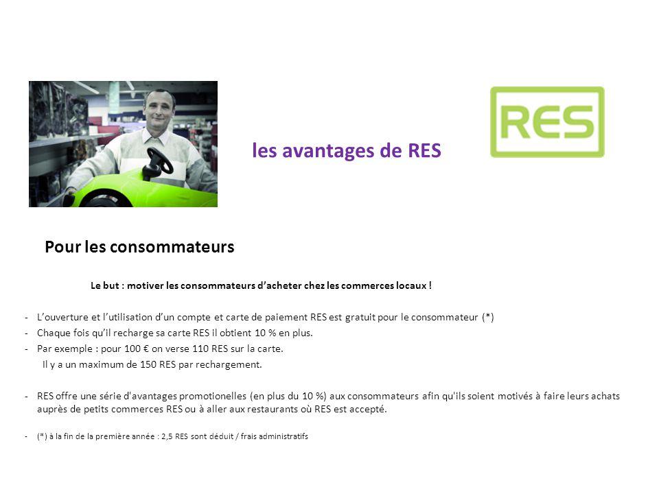 les avantages de RES Pour les consommateurs Le but : motiver les consommateurs d'acheter chez les commerces locaux ! -L'ouverture et l'utilisation d'u