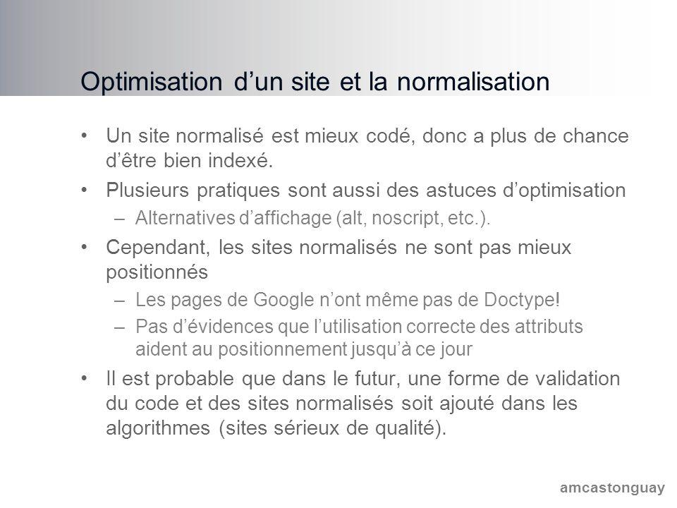 amcastonguay Optimisation d'un site et la normalisation Un site normalisé est mieux codé, donc a plus de chance d'être bien indexé.