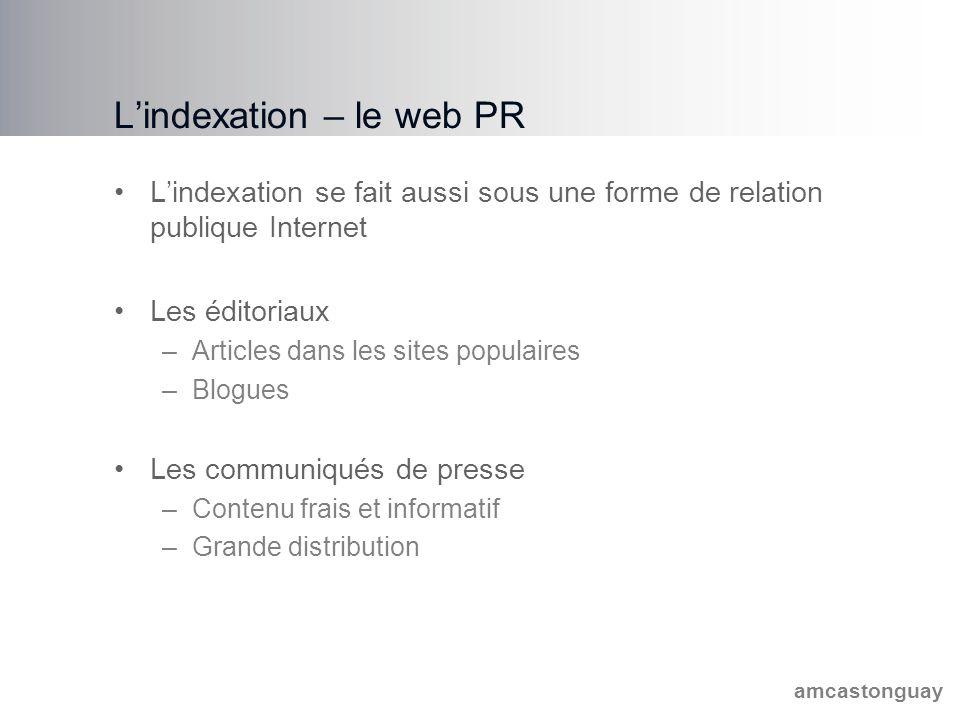 amcastonguay L'indexation – le web PR L'indexation se fait aussi sous une forme de relation publique Internet Les éditoriaux –Articles dans les sites populaires –Blogues Les communiqués de presse –Contenu frais et informatif –Grande distribution