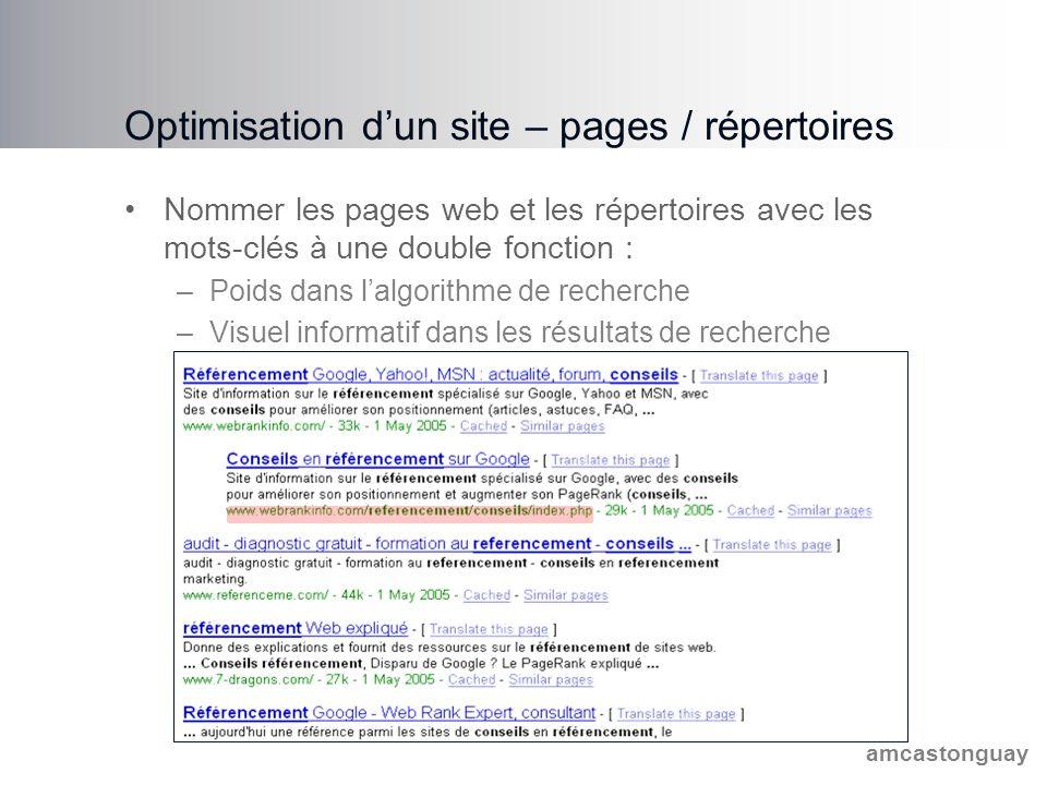 amcastonguay Optimisation d'un site – pages / répertoires Nommer les pages web et les répertoires avec les mots-clés à une double fonction : –Poids dans l'algorithme de recherche –Visuel informatif dans les résultats de recherche
