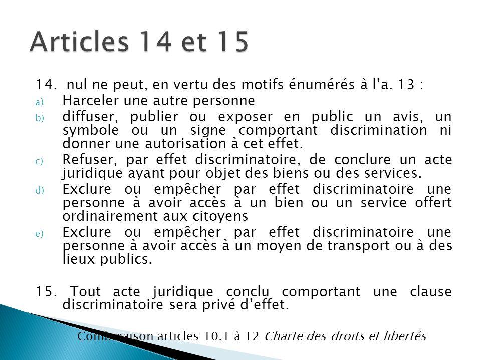 14. nul ne peut, en vertu des motifs énumérés à l'a. 13 : a) Harceler une autre personne b) diffuser, publier ou exposer en public un avis, un symbole