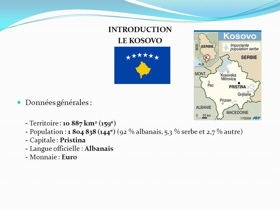 INTRODUCTION LE KOSOVO Données générales : - Territoire : 10 887 km 2 (159 e ) - Population : 1 804 838 (144 e ) (92 % albanais, 5,3 % serbe et 2,7 %