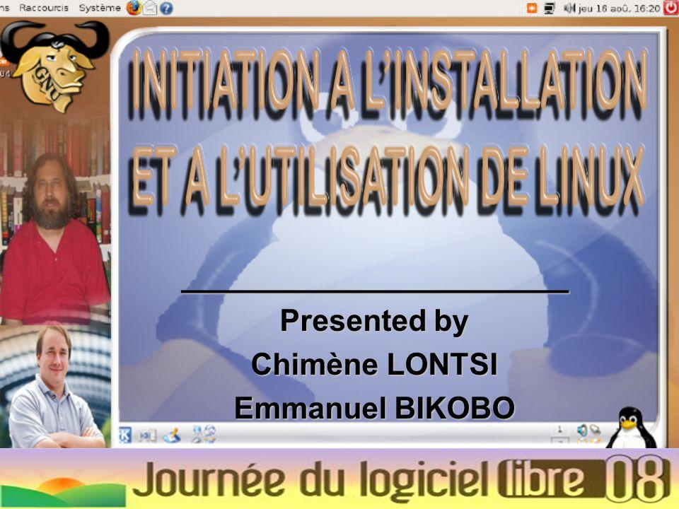 _______________________ Presented by Chimène LONTSI Emmanuel BIKOBO