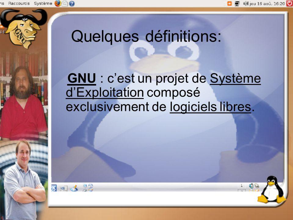 Quelques définitions: GNU : c'est un projet de Système d'Exploitation composé exclusivement de logiciels libres.