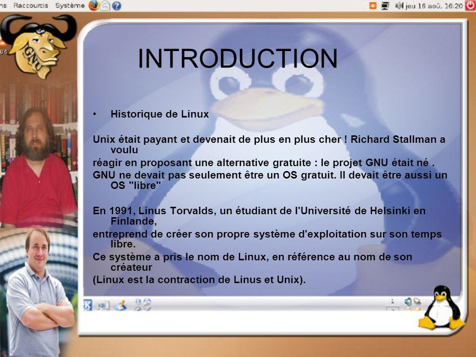 INTRODUCTION Historique de Linux Unix était payant et devenait de plus en plus cher ! Richard Stallman a voulu réagir en proposant une alternative gra