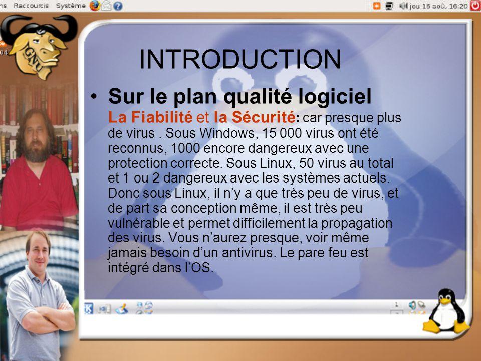 INTRODUCTION Sur le plan qualité logiciel La Fiabilité et la Sécurité : car presque plus de virus. Sous Windows, 15 000 virus ont été reconnus, 1000 e