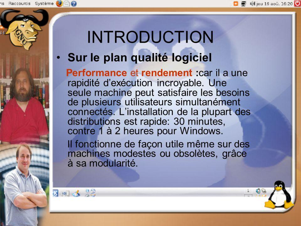 INTRODUCTION Sur le plan qualité logiciel Performance et rendement :car il a une rapidité d'exécution incroyable. Une seule machine peut satisfaire le