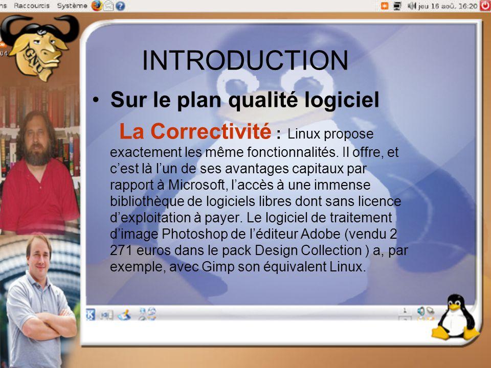 INTRODUCTION Sur le plan qualité logiciel La Correctivité : Linux propose exactement les même fonctionnalités. Il offre, et c'est là l'un de ses avant