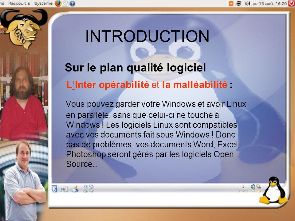 INTRODUCTION Sur le plan qualité logiciel L'Inter opérabilité et la malléabilité : Vous pouvez garder votre Windows et avoir Linux en parallèle, sans