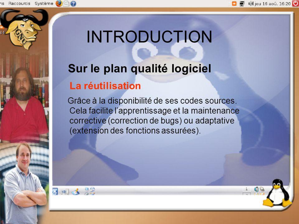 INTRODUCTION Sur le plan qualité logiciel La réutilisation Grâce à la disponibilité de ses codes sources. Cela facilite l'apprentissage et la maintena