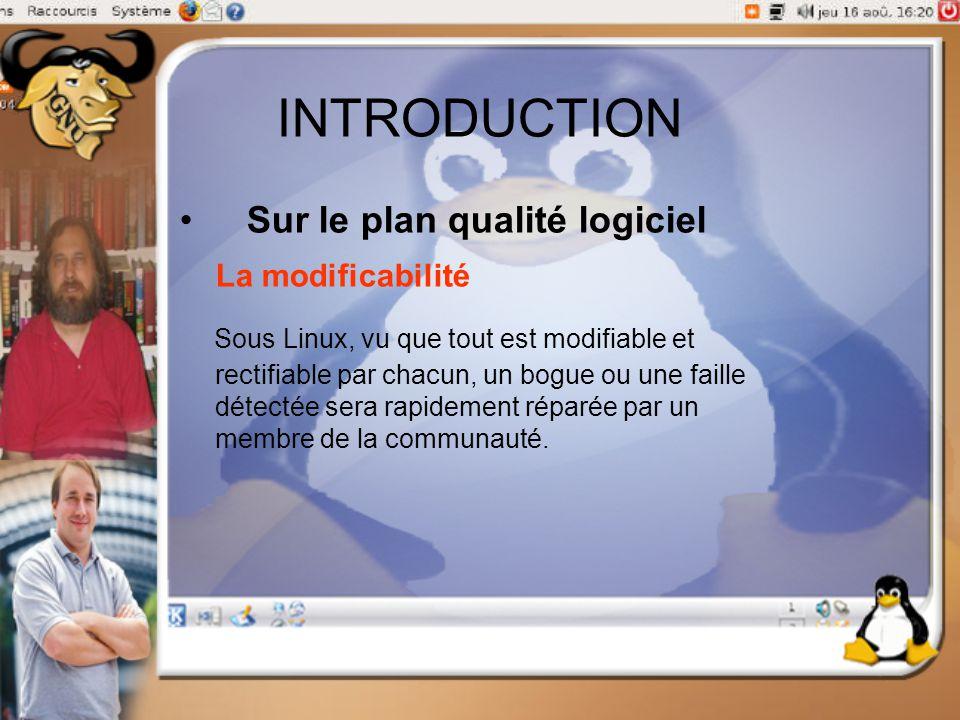 INTRODUCTION Sur le plan qualité logiciel La modificabilité Sous Linux, vu que tout est modifiable et rectifiable par chacun, un bogue ou une faille d