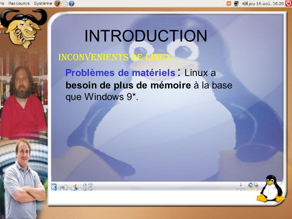 INTRODUCTION Inconvenients de linux Problèmes de matériels : Linux a besoin de plus de mémoire à la base que Windows 9*.