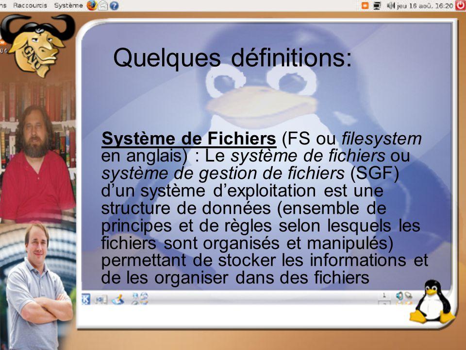 Quelques définitions: Système de Fichiers (FS ou filesystem en anglais) : Le système de fichiers ou système de gestion de fichiers (SGF) d'un système