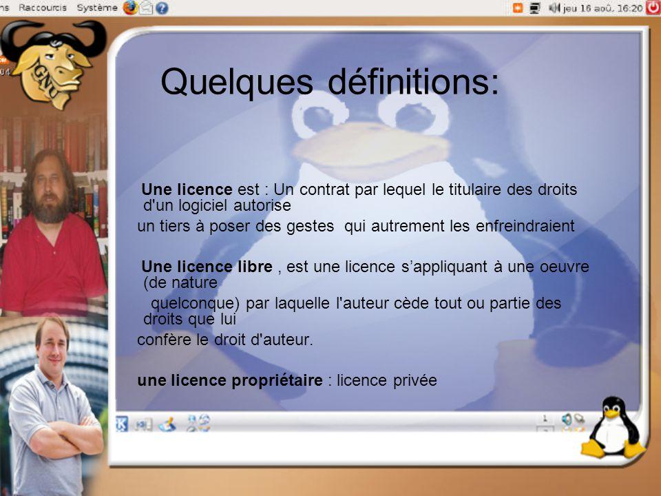 Quelques définitions: Une licence est : Un contrat par lequel le titulaire des droits d'un logiciel autorise un tiers à poser des gestes qui autrement