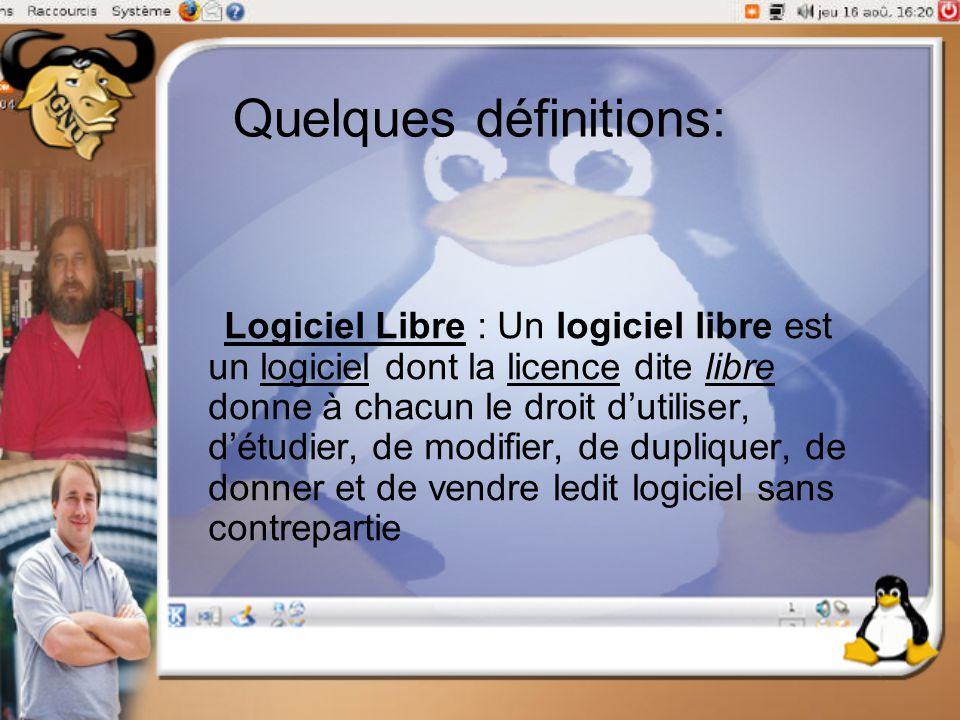 Quelques définitions: Logiciel Libre : Un logiciel libre est un logiciel dont la licence dite libre donne à chacun le droit d'utiliser, d'étudier, de
