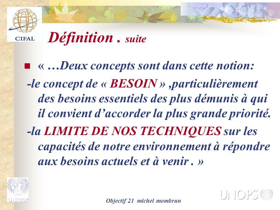 Objectif 21 michel mombrun Définition.