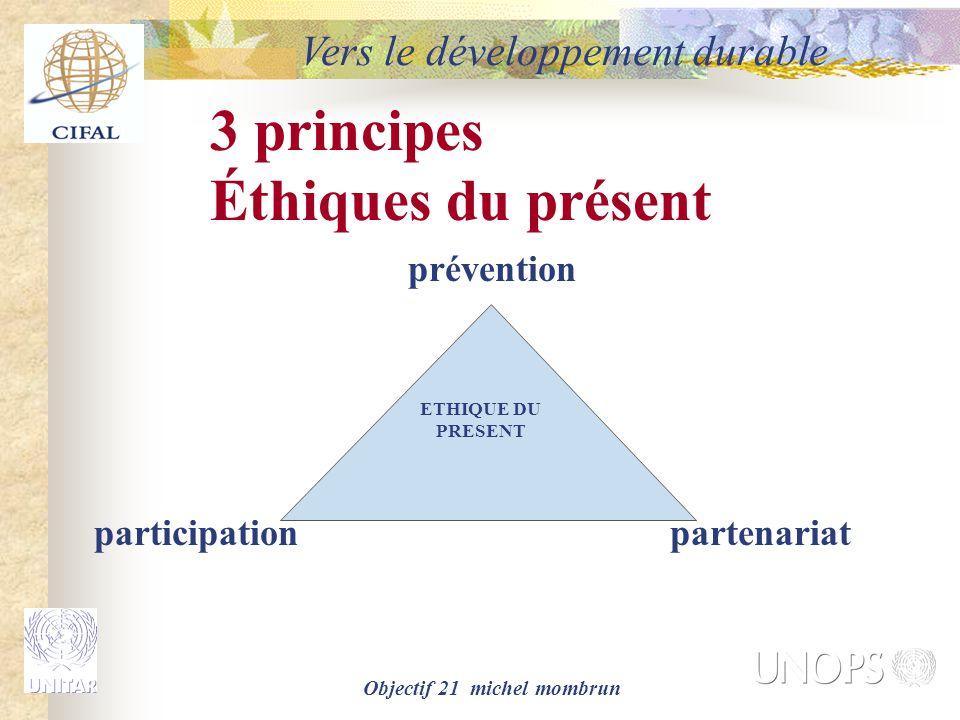 Objectif 21 michel mombrun Vers le développement durable prévention participationpartenariat ETHIQUE DU PRESENT 3 principes Éthiques du présent