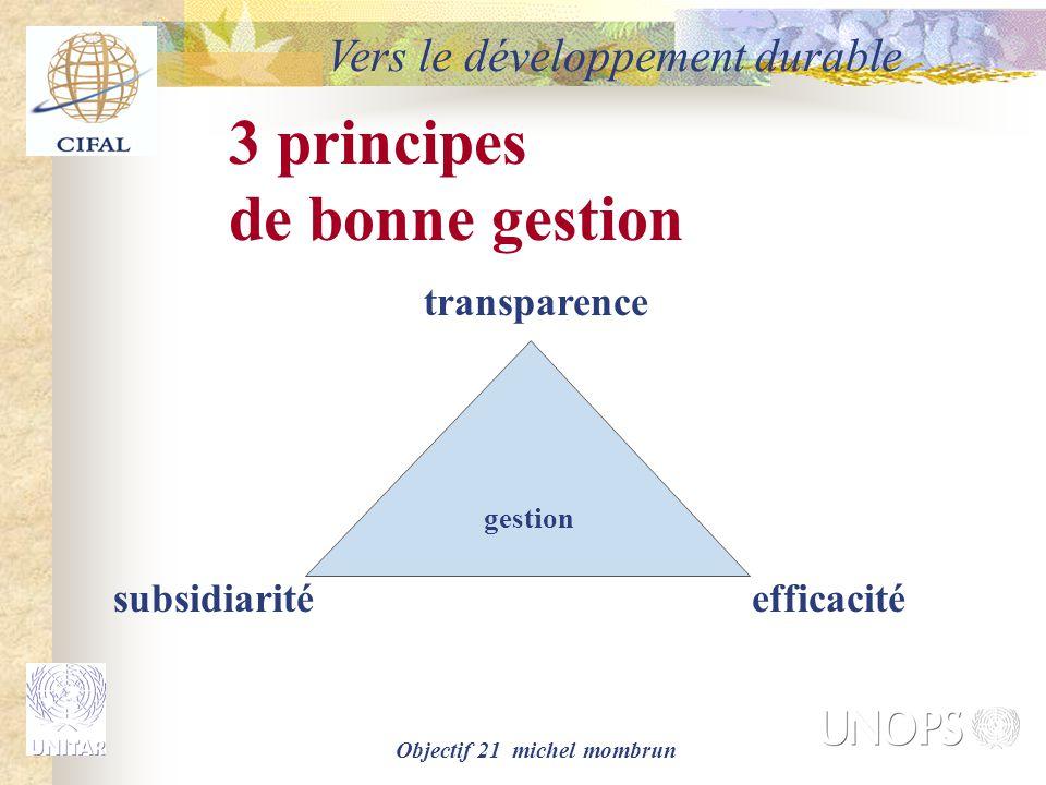 Objectif 21 michel mombrun Vers le développement durable gestion transparence subsidiaritéefficacité 3 principes de bonne gestion
