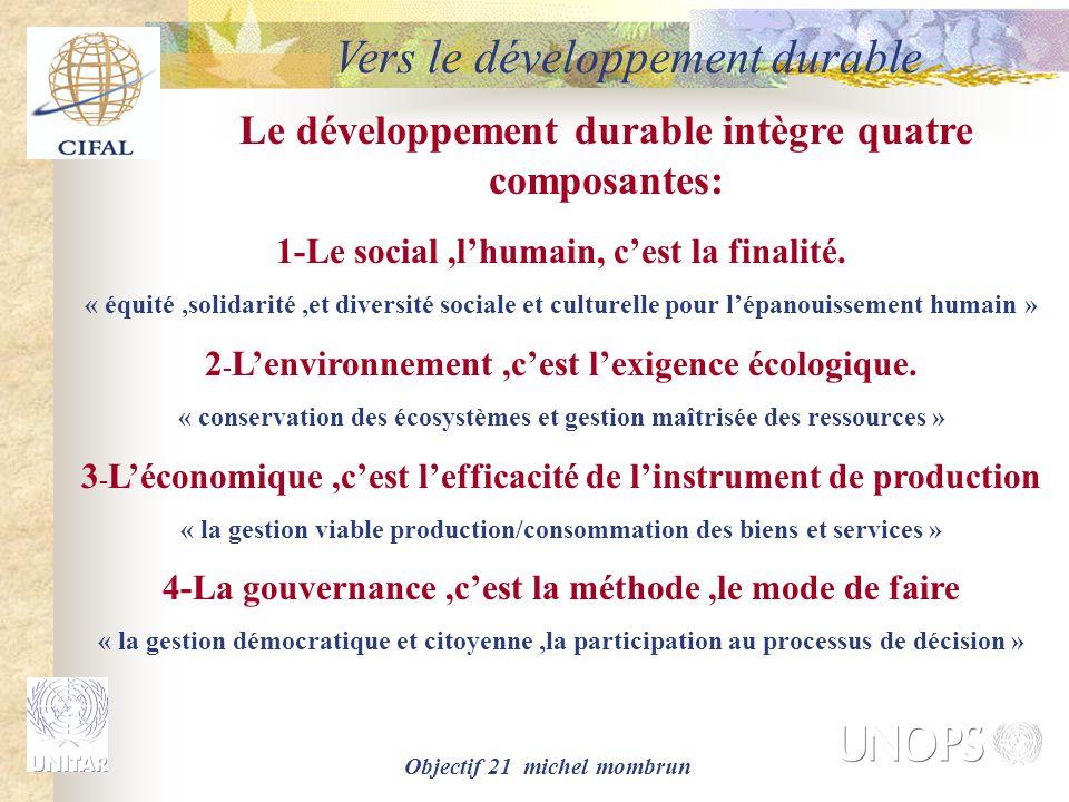 Objectif 21 michel mombrun Le développement durable intègre quatre composantes: 1-Le social,l'humain, c'est la finalité. « équité,solidarité,et divers