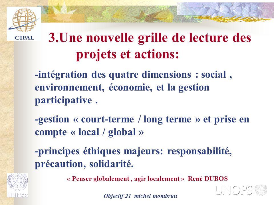 Objectif 21 michel mombrun 3.Une nouvelle grille de lecture des projets et actions: -intégration des quatre dimensions : social, environnement, économie, et la gestion participative.