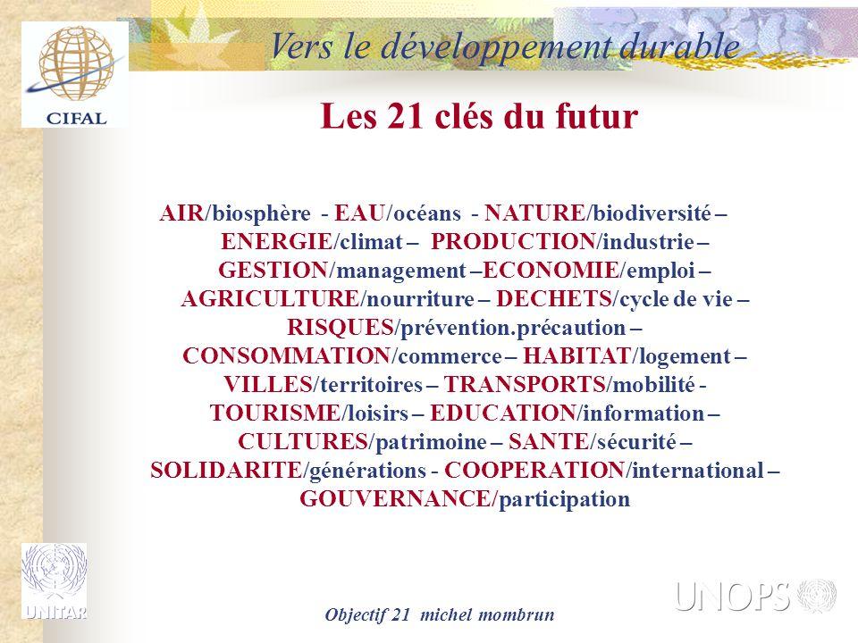 Objectif 21 michel mombrun Les 21 clés du futur AIR/biosphère - EAU/océans - NATURE/biodiversité – ENERGIE/climat – PRODUCTION/industrie – GESTION/management –ECONOMIE/emploi – AGRICULTURE/nourriture – DECHETS/cycle de vie – RISQUES/prévention.précaution – CONSOMMATION/commerce – HABITAT/logement – VILLES/territoires – TRANSPORTS/mobilité - TOURISME/loisirs – EDUCATION/information – CULTURES/patrimoine – SANTE/sécurité – SOLIDARITE/générations - COOPERATION/international – GOUVERNANCE/participation Vers le développement durable