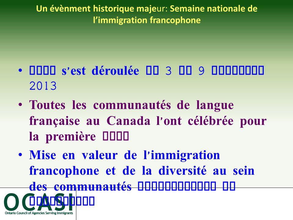 Un évènment historique majeur: Semaine nationale de l'immigration francophone Elle s ' est déroulée du 3 au 9 novembre 2013 Toutes les communautés de langue française au Canada l ' ont célébrée pour la première fois Mise en valeur de l ' immigration francophone et de la diversité au sein des communautés francophones et acadiennes