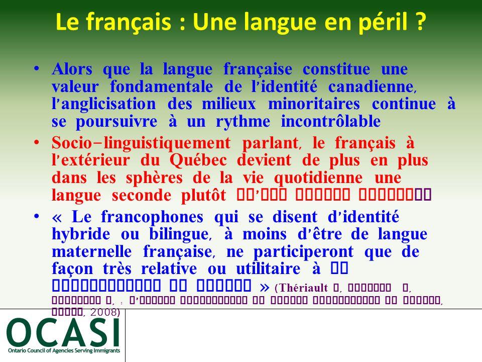Le français : Une langue en péril .