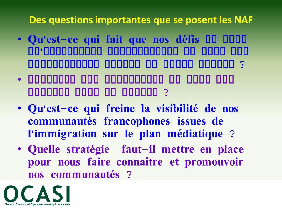 Des questions importantes que se posent les NAF Qu ' est - ce qui fait que nos défis en tant qu ' immigrants francophones ne sont pas suffisamment connus du grand public .