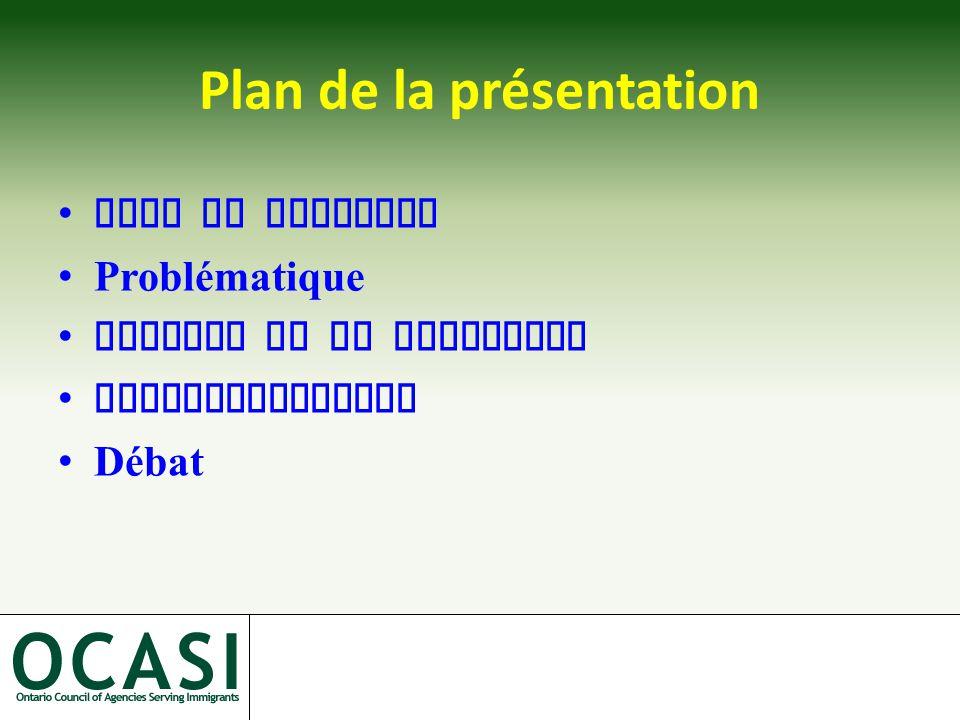 Plan de la présentation Mise en contexte Problématique Analyse de la situation Recommandations Débat