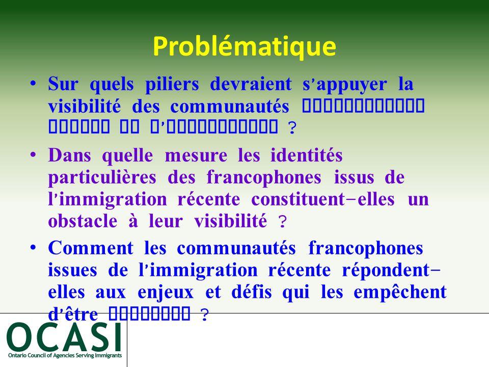 Problématique Sur quels piliers devraient s ' appuyer la visibilité des communautés francophones issues de l ' immigration .