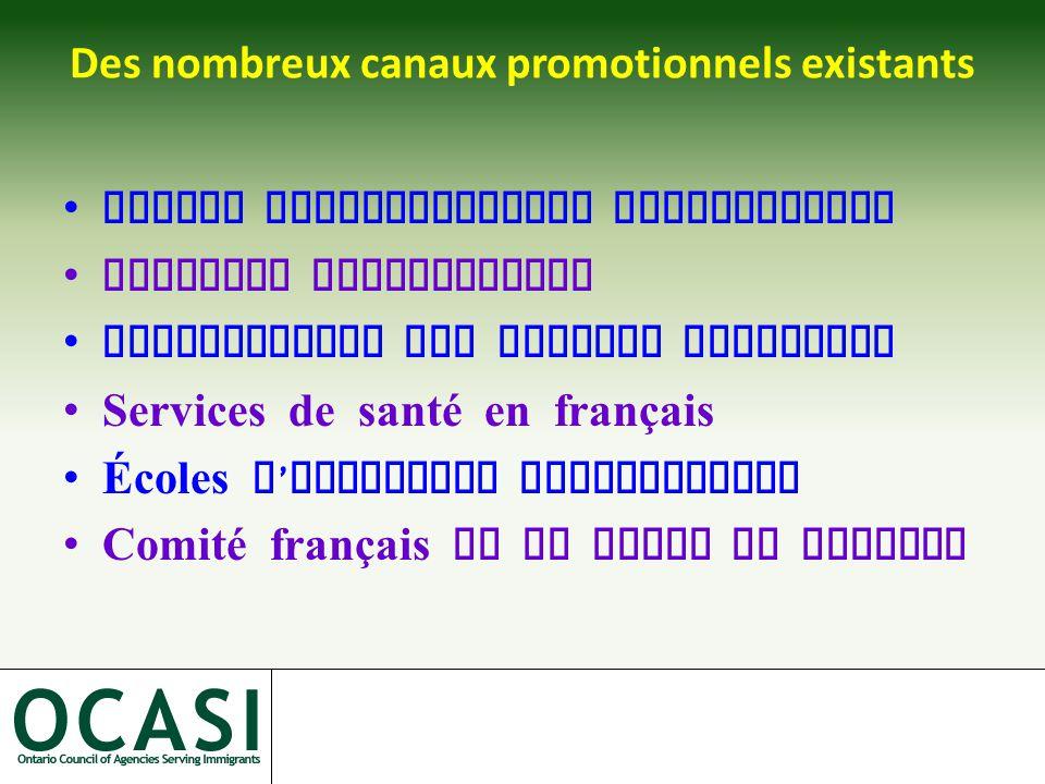 Des nombreux canaux promotionnels existants Radios communautaires francophones Journaux francophones Commissariat aux langues officiels Services de santé en français Écoles d ' immersion francophones Comité français de la ville de Toronto